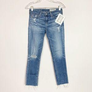 AG | The Stilt Crop raw hem skinny ankle jeans 24
